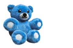 3D Illustration of a blue furry teddy bear Royalty Free Stock Photography