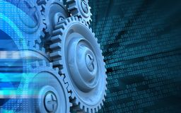 3d blank. 3d illustration of blue gears over binary background with Royalty Free Stock Photos