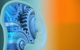 3d blank. 3d illustration of blue gears over orange background with head profile Stock Photo