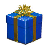 3D Illustration of Blue Gift Box. With Golden Ribbon Royalty Free Stock Photos