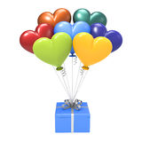 3D illustration blue gift and variegated hearts air balloons. On a white background Royalty Free Stock Images