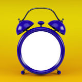 3d illustration of blue glossy alarm clock against yellow background with space for text Royalty Free Stock Photo