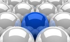 3D Illustration Blue leader sphere concept. 3D Illustration Blue and white spheres in a row Royalty Free Stock Photos