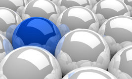3D Illustration Blue leader sphere concept 2. 3D Illustration Blue and white spheres in a row Royalty Free Stock Images