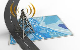 3d blank. 3d illustration of blue map with antenna and Stock Photos