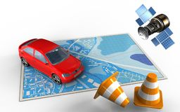 3d car. 3d illustration of blue map with car and gps satellite Stock Photography