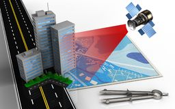 3d city buildings. 3d illustration of blue map with city buildings and circle tool Royalty Free Stock Photos