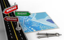 3d blank. 3d illustration of blue map with direction index and circle tool Stock Photo