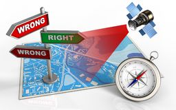 3d compass. 3d illustration of blue map with direction index and satellite vector illustration