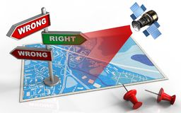 3d blank. 3d illustration of blue map with direction index and satellite vector illustration