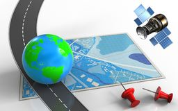 3d blue map. 3d illustration of blue map with earth and red pins Royalty Free Stock Images