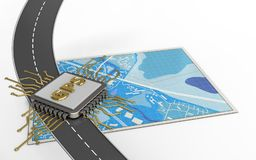 3d gps chip. 3d illustration of blue map with gps chip and royalty free illustration