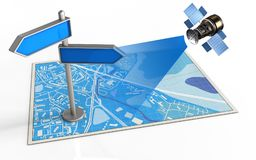 3d blank. 3d illustration of blue map with index and satellite Royalty Free Stock Photos