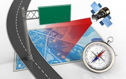 3d blue map. 3d illustration of blue map with index sign and compass Royalty Free Stock Photos