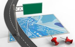 3d blue map. 3d illustration of blue map with index sign and red pins Stock Image