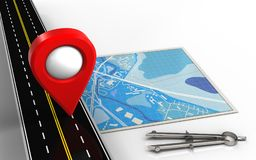 3d blank. 3d illustration of blue map with location pin and circle tool Royalty Free Stock Photo