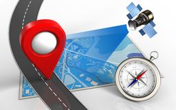 3d road. 3d illustration of blue map with location pin and compass Royalty Free Stock Photos