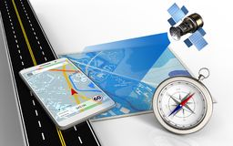 3d asphalt road. 3d illustration of blue map with mobile navigation and compass Royalty Free Stock Photography