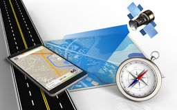 3d asphalt road. 3d illustration of blue map with phone navigation and compass Stock Photos