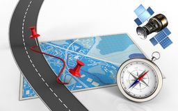 3d compass. 3d illustration of blue map with pins and route and compass Stock Image