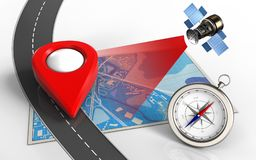 3d point icon. 3d illustration of blue map with point icon and compass Stock Photos