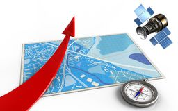 3d red arrow. 3d illustration of blue map with red arrow and gps satellite Stock Photos