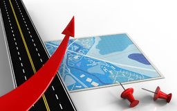 3d asphalt road. 3d illustration of blue map with red arrow and red pins Stock Images