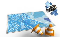 3d blue map. 3d illustration of blue map with repair cones and gps satellite Royalty Free Stock Image