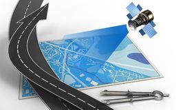 3d circle tool. 3d illustration of blue map with road arrow and circle tool Stock Photos