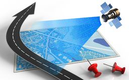 3d road arrow. 3d illustration of blue map with road arrow and satellite digital signal Royalty Free Stock Images