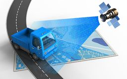 3d. Illustration of blue map with truck and royalty free illustration