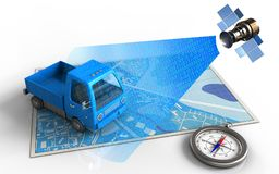 3d compass. 3d illustration of blue map with truck and satellite digital signal royalty free illustration