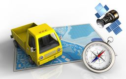 3d yellow truck. 3d illustration of blue map with yellow truck and gps satellite Royalty Free Stock Photos
