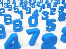 3D Illustration - blue 3D numbers on white background - focus on number one stock illustration