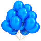 3D illustration of blue party helium balloons birthday decoration. 3D illustration of blue party helium balloons birthday happy holidays carnival celebrate Royalty Free Stock Photo