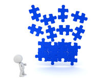 3D illustration of blue puzzle piece falling into place with cha. Racter looking at them. It`s a dark blue Stock Photography
