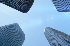 3D Illustration blue skyscrapers from a low angle view. Architecture glass high buildings. Blue skyscrapers in a finance. District vector illustration