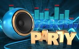3d spectrum blue sound speaker Royalty Free Stock Photography