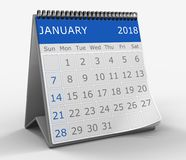 3d calendar. 3d illustration of blue square calendar over white background, january month page Royalty Free Stock Image