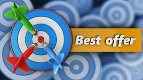 3d blue target with best offer sign. 3d illustration of blue target with best offer sign over many targets background Royalty Free Stock Photo