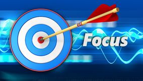 3d blue target with focus sign. 3d illustration of blue target with focus sign over blue waves background Royalty Free Stock Images