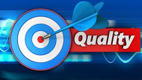 3d blue target with quality. 3d illustration of blue target with quality over blue waves background Royalty Free Stock Photography