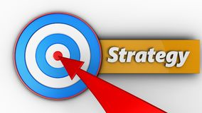 3d blue target with strategy. 3d illustration of blue target with strategy over white background Stock Image