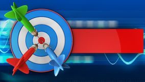 3d blue target with three darts. 3d illustration of blue target with three darts over blue waves background Royalty Free Stock Photos