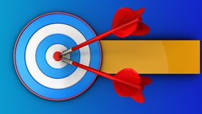 3d blue target with two darts. 3d illustration of blue target with two darts over blue background Royalty Free Stock Images