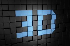 3D illustration of blue text with black cubes background. 3D illustration of blue text with black cube background Stock Photos
