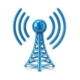 3d illustration of blue wireless tower Royalty Free Stock Photography