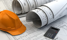 3d illustration of  Blueprints, house model and construction equipment. On architect working table.Construction Concept Royalty Free Stock Image