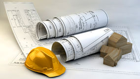 3d illustration of  Blueprints, house model and construction equipment. On architect working table.Construction Concept Stock Images