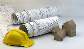 3d illustration of  Blueprints, house model and construction equipment Royalty Free Stock Images